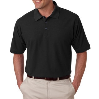 Tall Whisper Men's Black Polyester/Cotton Pique Polo T-shirt