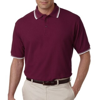 Men's Wine/White Short-sleeve Whisper Pique Polo T-shirt With Tipped Collar and Cuffs
