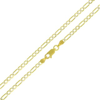 ITProLux Sterling Silver Goldplated Figaro Diamond-cut Necklace Chain