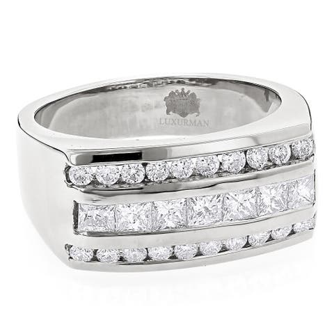 Luxurman Men's Round & Princess Cut Diamond Ring 1.3ct 14K Gold Unique Wedding Band