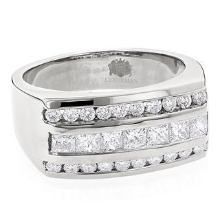 Luxurman Men's Round & Princess Cut Diamond Ring 1.3ct 14K Gold Unique Wedding Band