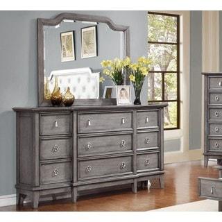 LYKE Home Stassi Grey Metal/Pine/Veneer Dresser and Mirror Set
