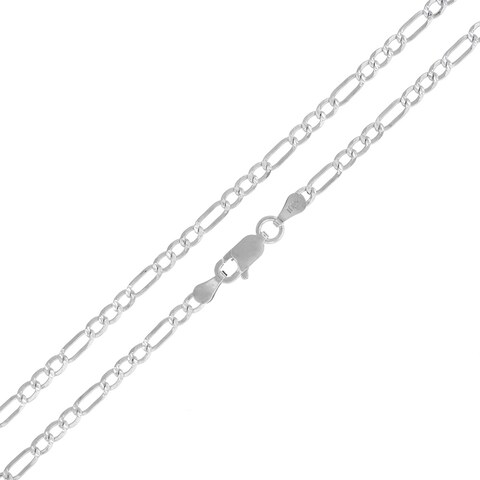 """Sterling Silver Italian 3mm Figaro Link Diamond-Cut ITProLux Solid 925 Necklace Chain 16"""" - 30"""""""