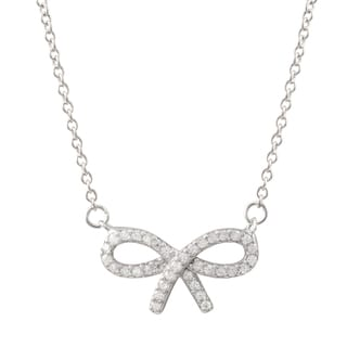 Luxiro Sterling Silver Pave Cubic Zirconia Open Bow Necklace