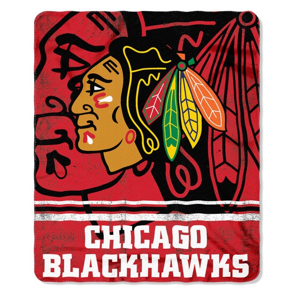NHL 031 Blackhawks Fade Away Fleece Throw