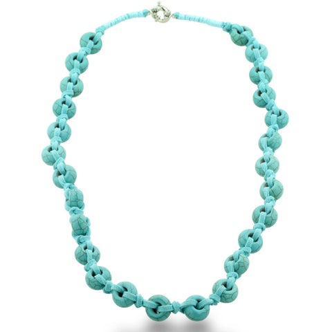 Hand Knotted Leather and Turquoise Circle Beaded Necklace