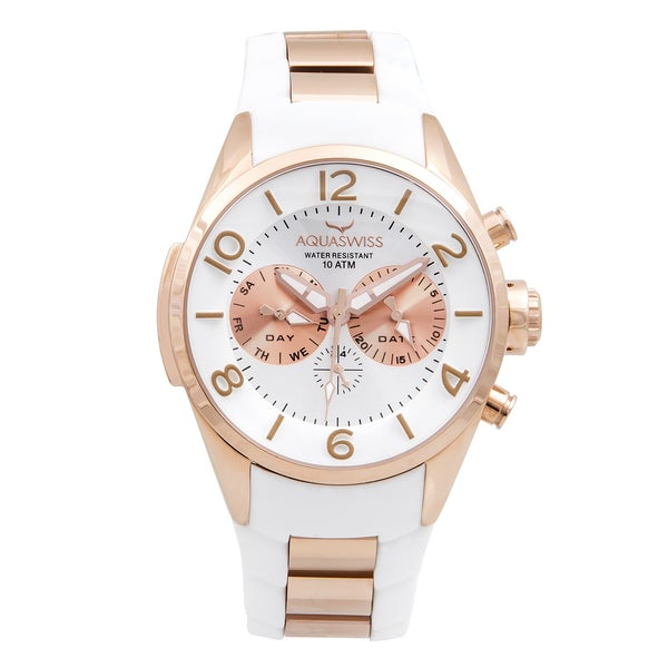 Aquaswiss Unisex Trax 5H White/ Rosegold Silicone/ Stainless Steel Watch