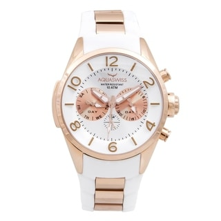 Aquaswiss Unisex TR805063 Trax 5H White/ Rosegold Silicone/ Stainless Steel Watch