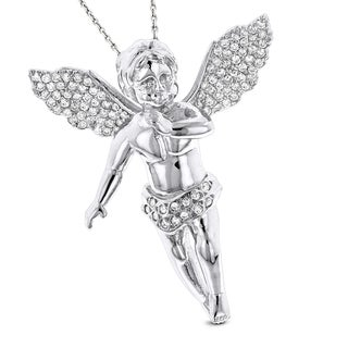 Luxurman 14k Gold 5/8ct TDW Diamond Angel Pendant Necklace (G-H, VS1-VS2)
