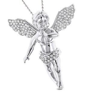 Luxurman 14k Gold 5/8ct TDW Diamond Angel Pendant Necklace