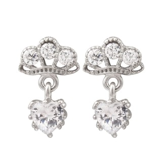 Luxiro Sterling Silver Cubic Zirconia Crown Heart Children's Earrings