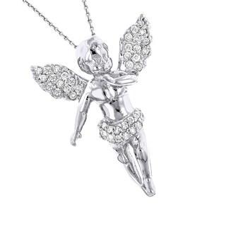 Luxurman 14k Gold 1/4ct TDW Diamond Little Angel Pendant Necklace