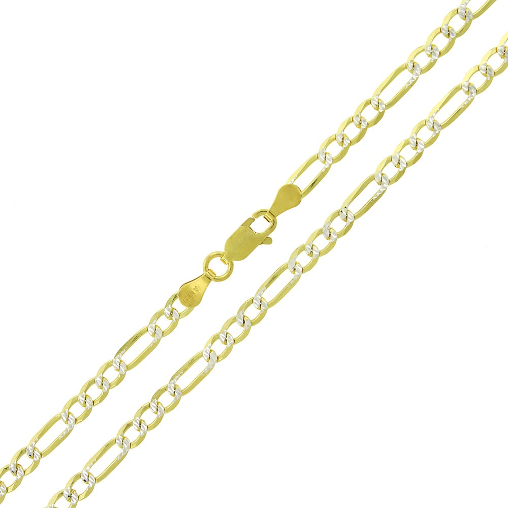 Jewels By Lux 14K Yellow Gold Figaro Concave Chain Necklace With Lobster Claw Clasp
