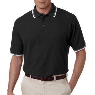 Men's Whisper Pique Black/ White Polyester Short-sleeved Polo Shirt