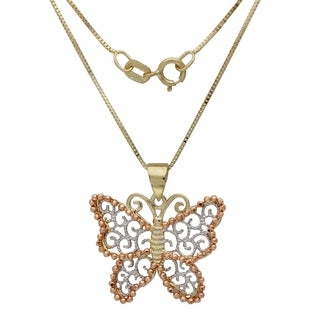 14k Tri-color Gold Butterfly with Box 18-inch Chain Pendant Necklace