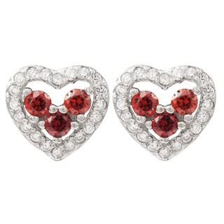 Luxiro Sterling Silver Cubic Zirconia Heart Children's Earrings