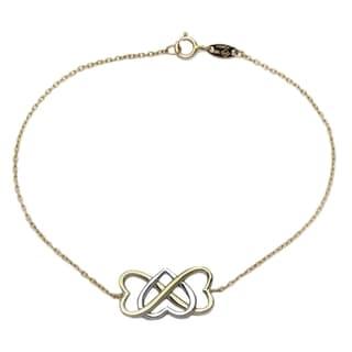 14k White/Yellow Gold 7.25-inch Cross Heart Bracelet
