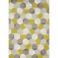 Camilla Green/Grey Polypropylene Honeycomb Rug (6'7 x 9'6)