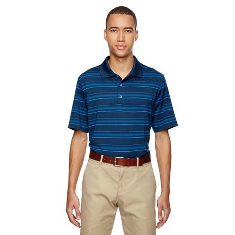 Puremotion Men's Textured Stripe Rich Blu/Burnt Royal Polo T-shirt