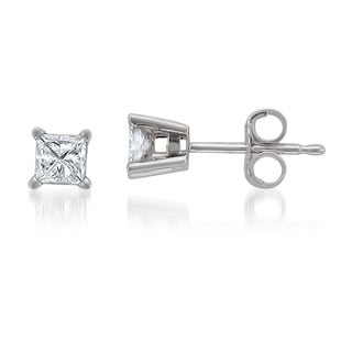 Montebello Jewelry 14k White Gold 1/4ct TDW Princess-cut White Diamond Stud Earrings (H-I, I1-I2)