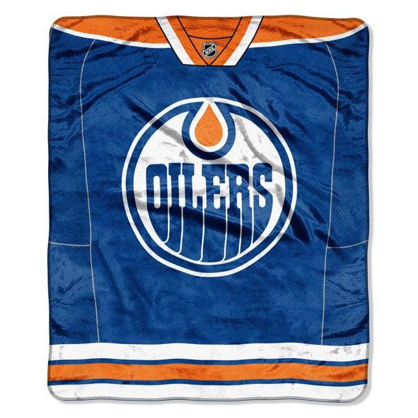 NHL 701 Oilers Jersey Raschel Throw