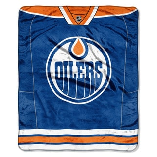 NHL 701 Oilers Jersey Raschel Throw