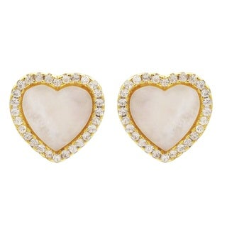 Gold Finish Sterling Silver Mother of Pearl and Cubic Zirconia Heart Children's Earrings