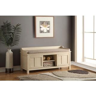 Rosio Cream Fabric/Wood Storage Bench