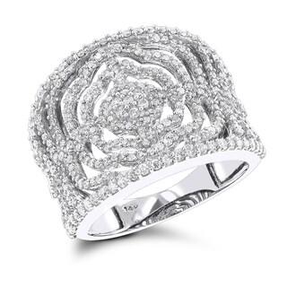 Luxurman 14k Gold 1ct TDW Diamond Floral Ring