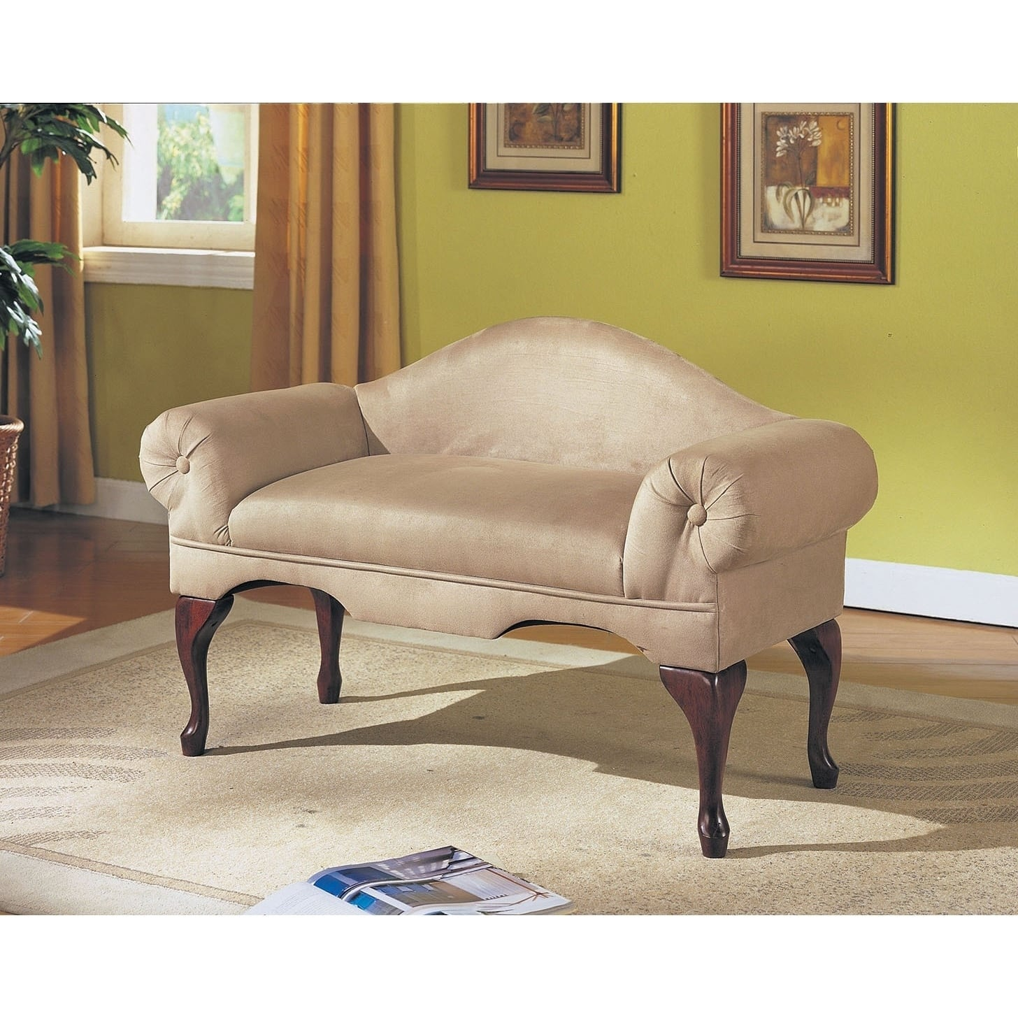 ACME Aston Beige Microfiber Bench With Rolled Arms (Beige...