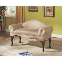 Aston Beige Microfiber Bench With Rolled Arms