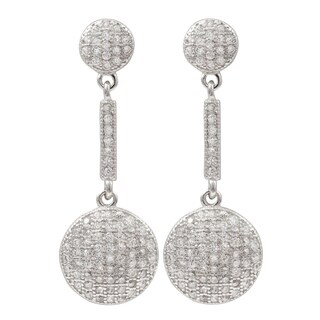 Luxiro Sterling Silver Micropave Cubic Zirconia Circle Dangle Earrings