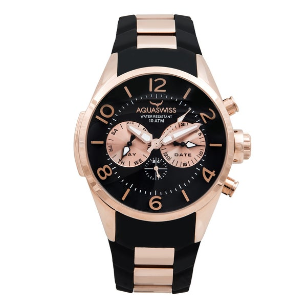 Aquaswiss Unisex Trax 5H Black and Rosegold Stainless Steel Watch