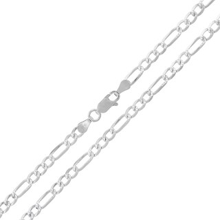 "Sterling Silver Italian 3.5mm Figaro Link Diamond-Cut ITProLux Solid 925 Necklace Chain 16"" - 26"""