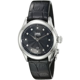 Oris Women's 56176044099LS 'Artelier' Diamond Automatic Black Leather Watch