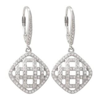 Luxiro Sterling Silver Pave Cubic Zirconia Lattice Dangle Earrings
