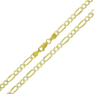0.925 Sterling Silver 4-millimeter Solid Figaro Link Gold-plated Diamond-cut ITProLux Necklace Chain