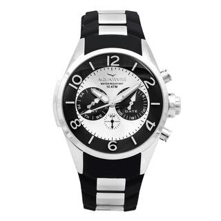 Aquaswiss Unisex TR805012 Trax 5H Black/ Silver Stainless Steel and Silicone Watch|https://ak1.ostkcdn.com/images/products/12112968/P18973926.jpg?impolicy=medium