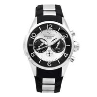Aquaswiss Unisex  Trax 5H Black/ Silver Stainless Steel and Silicone Watch