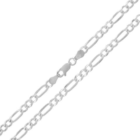 """.925 Solid Sterling Silver 4MM Figaro Link Diamond-Cut Necklace Chain 16"""" - 30"""", Silver Chain for Men & Women, Made in Italy"""