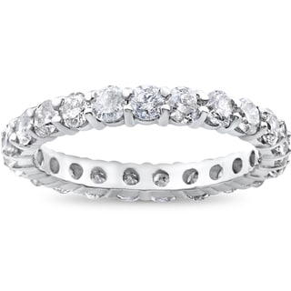 14k White Gold 2ct TDW Prong Diamond Eternity Stackable Wedding Ring