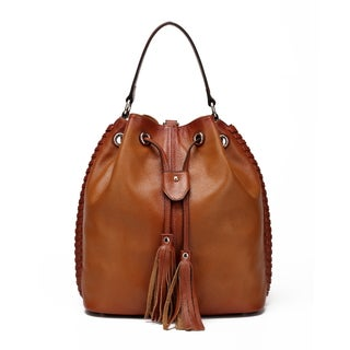 Vicenzo Leather Chantel Leather Bucket Handbag Backpack