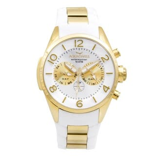 Aquaswiss Unisex Trax 5H White/ Gold Stainless Steel Watch|https://ak1.ostkcdn.com/images/products/12112994/P18973987.jpg?impolicy=medium