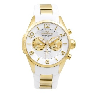 Aquaswiss Unisex Trax 5H White/ Gold Stainless Steel Watch