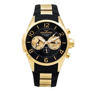 Aquaswiss Unisex TR805003 Trax 5H Black/ Gold Silicone/ Stainless Steel Watch