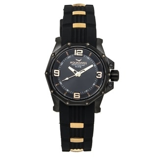 Aquaswiss Unisex 81M010 Vessel M Black/ Rose Gold Silicone/ Stainless Steel Watch