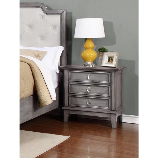 LYKE Home Stassi Grey Veneer Pine Nightstand Free