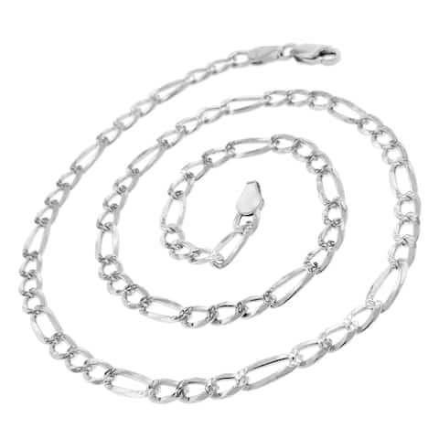 """.925 Solid Sterling Silver 5MM Figaro Link Diamond-Cut Necklace Chain 16"""" - 30"""", Men & Women, Made in Italy"""