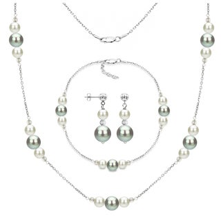 DaVonna Sterling Silver White and Grey Freshwater Pearl Necklace Bracelet and Stud Dangle Earring Set