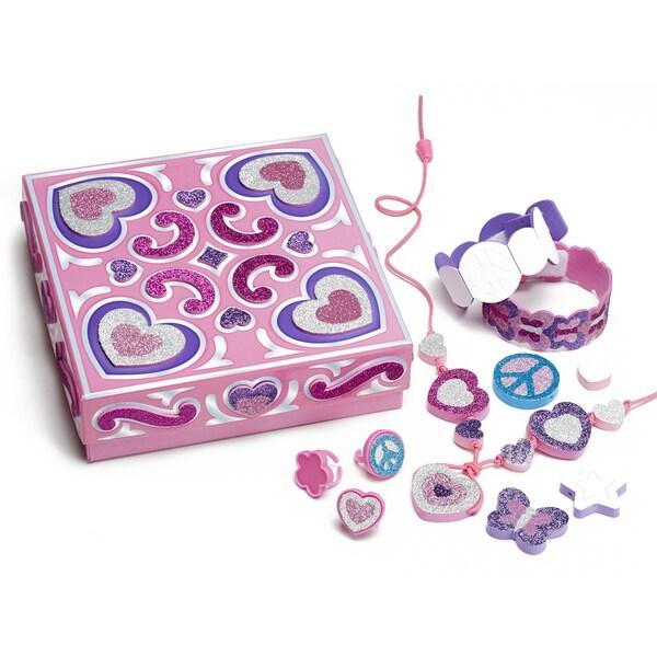 Melissa & Doug Mess Free Glitter Treasure Box and Jewelry Set
